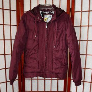 O'Neill Burgundy Quilted Jacket with Hood